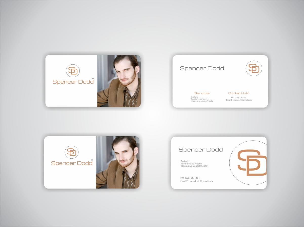 Elegant serious business card design for spencer dodd by naavyd business card design by naavyd for business card design project classically trained singer and voice magicingreecefo Images