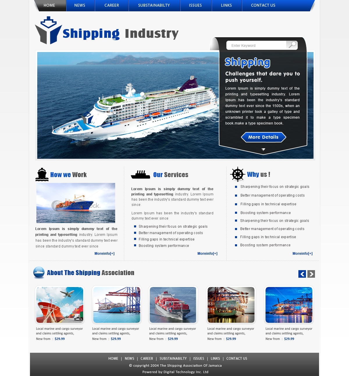 Serious, Modern, Shipping Web Design for a Company by