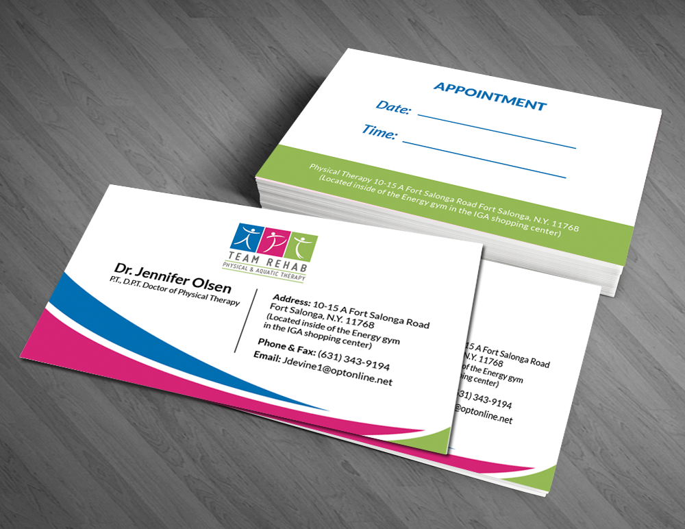 Elegant professional business business card design for team rehab business card design by artman for team rehab physical therapy pc design 3062458 reheart Gallery