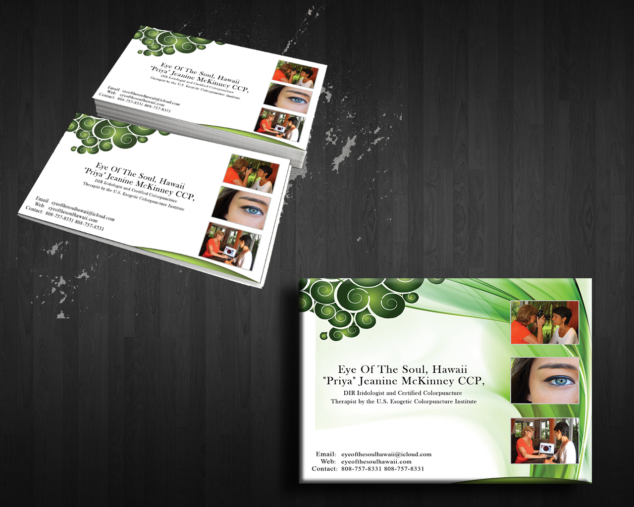 Modern personable business business card design for eye of the business card design by gentle spring rain for eye of the soul hawaii reheart Gallery