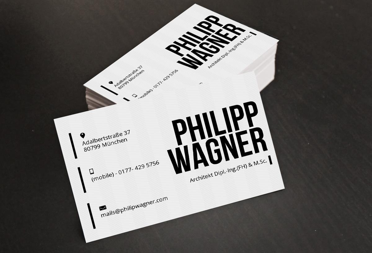Masculine Elegant Business Card Design For Philipp Wagner