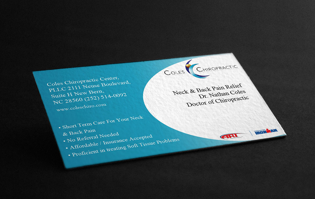 Elegant, Serious Business Card Design for Coles Chiropractic ...