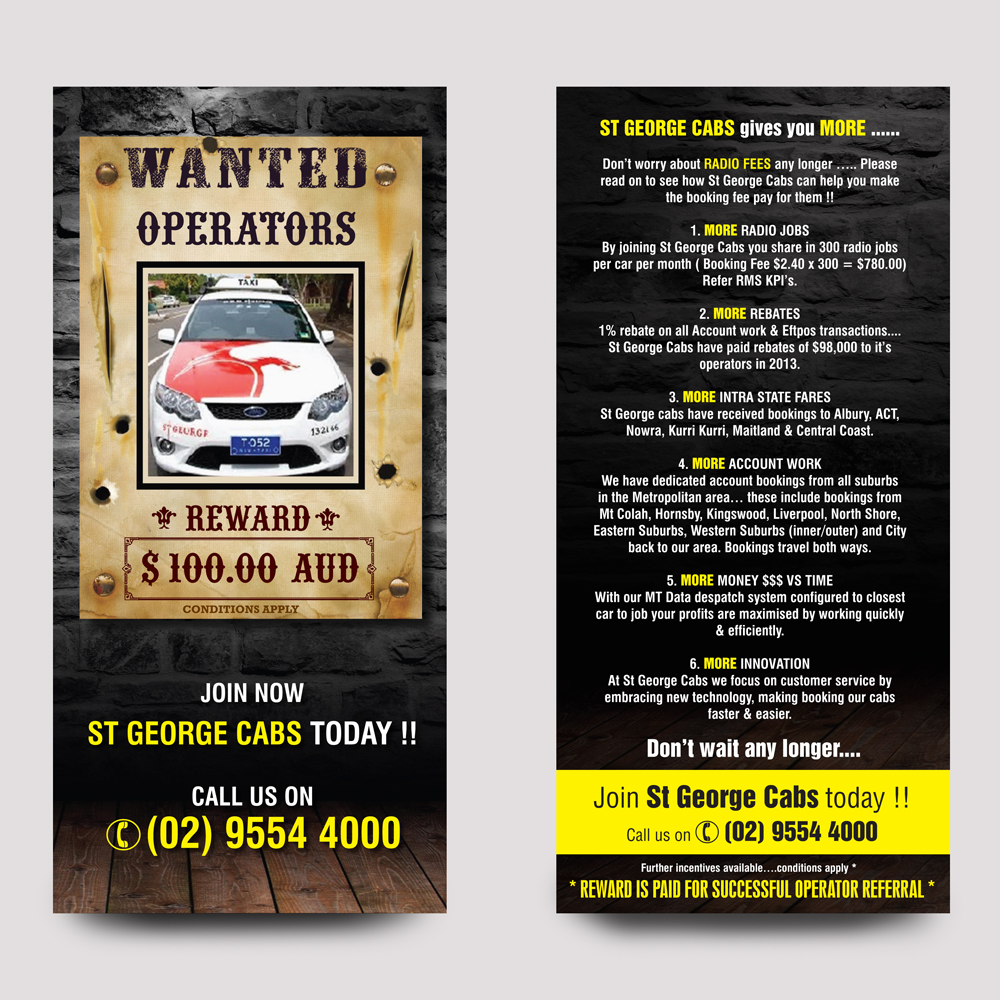 Taxi Flyer Design for St George Cabs by rkailas | Design #3108581