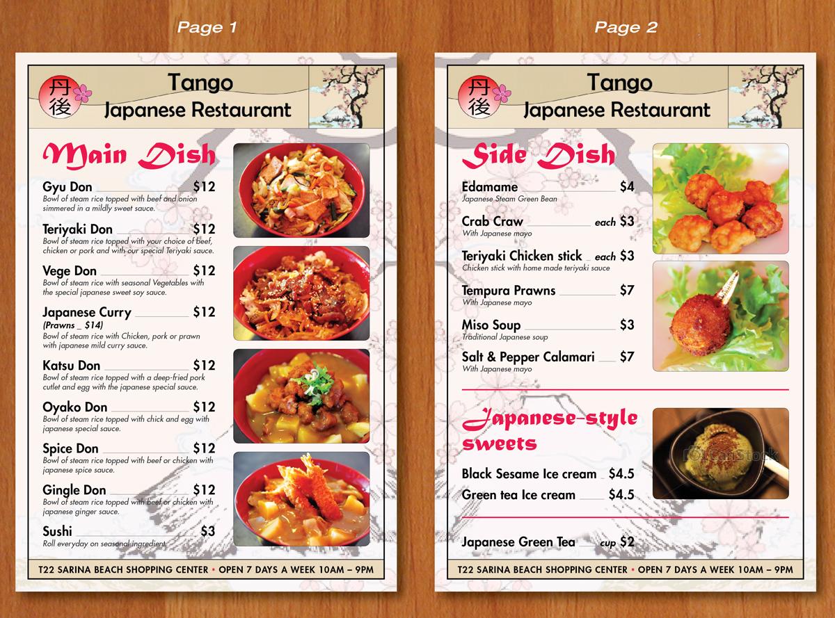 Tango Restaurant Menu