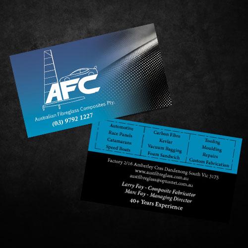 Business card design for australian fibreglass composites by red business card design by red rocket creative for carbon fibre fabricator business card design reheart Choice Image