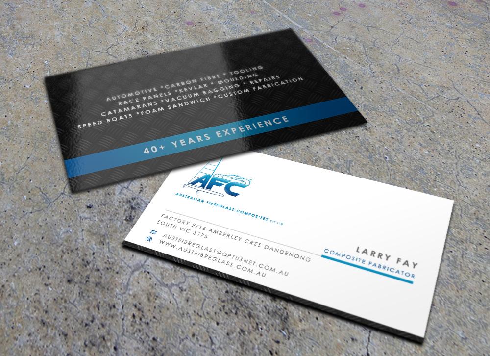 Business card design for australian fibreglass composites by eggo business card design by eggo may p for carbon fibre fabricator business card design reheart Choice Image