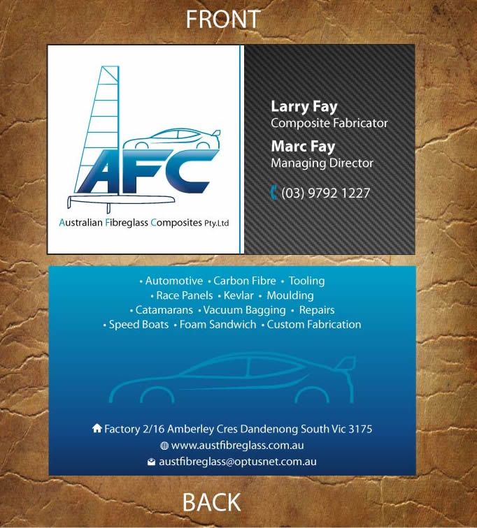 Automotive business card design for australian fibreglass composites automotive business card design for australian fibreglass composites in australia design 3107667 reheart Gallery