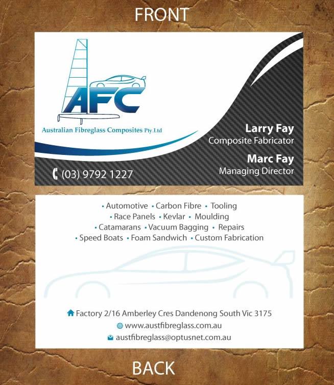 Business card design for australian fibreglass composites by business card design by sandy1155 for carbon fibre fabricator business card design 3107671 reheart Choice Image
