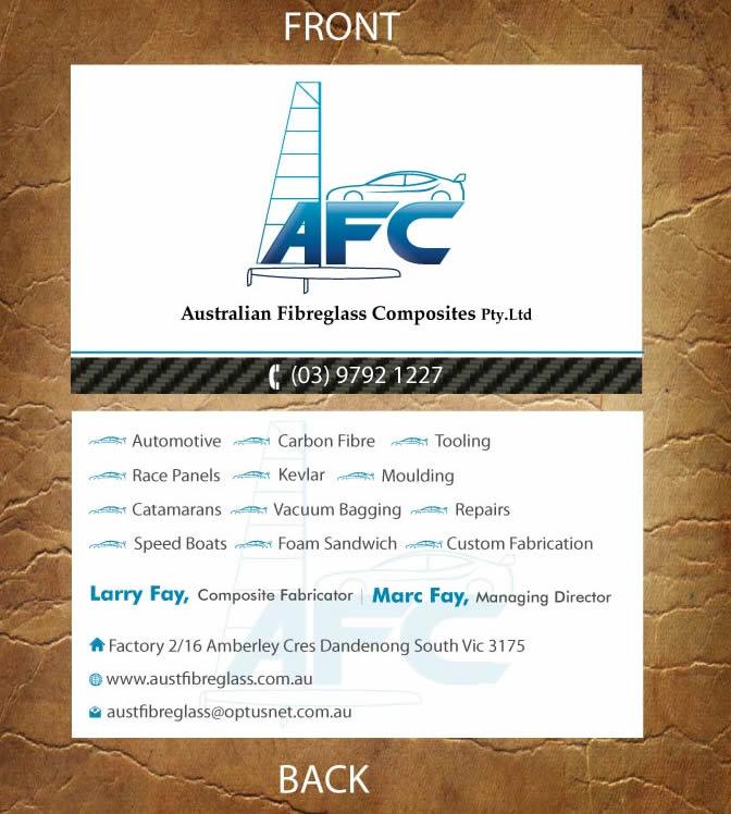Business card design for australian fibreglass composites by business card design by sandy1155 for carbon fibre fabricator business card design 3107677 reheart Choice Image