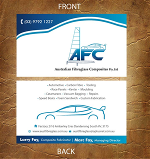27 business card designs automotive business card design project business card design by sandy1155 for australian fibreglass composites design 3107683 reheart Gallery