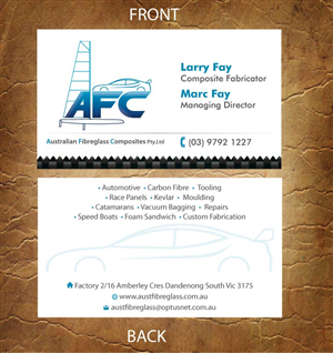 27 business card designs automotive business card design project business card design by sandy1155 for australian fibreglass composites design 3107697 reheart Gallery