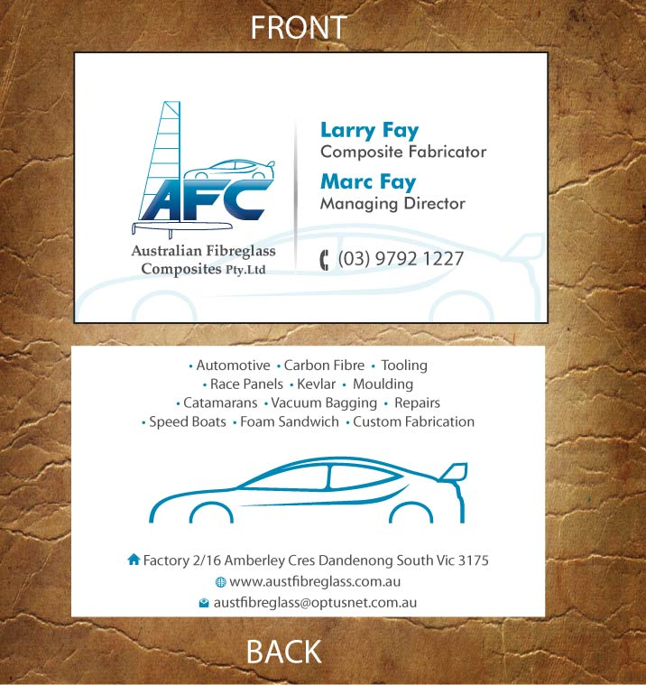 Automotive business card design for australian fibreglass composites automotive business card design for australian fibreglass composites in australia design 3107709 reheart Gallery
