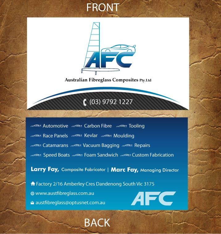 Business card design for australian fibreglass composites by business card design by sandy1155 for carbon fibre fabricator business card design 3107710 reheart Choice Image