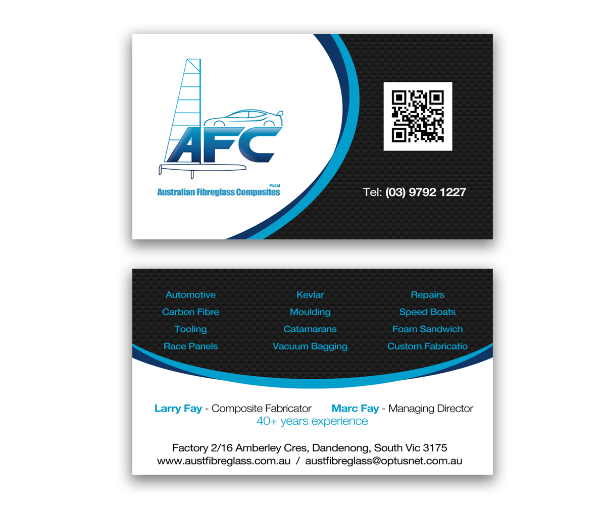Business card design for australian fibreglass composites by business card design by mustardmike for carbon fibre fabricator business card design 3104863 reheart Choice Image