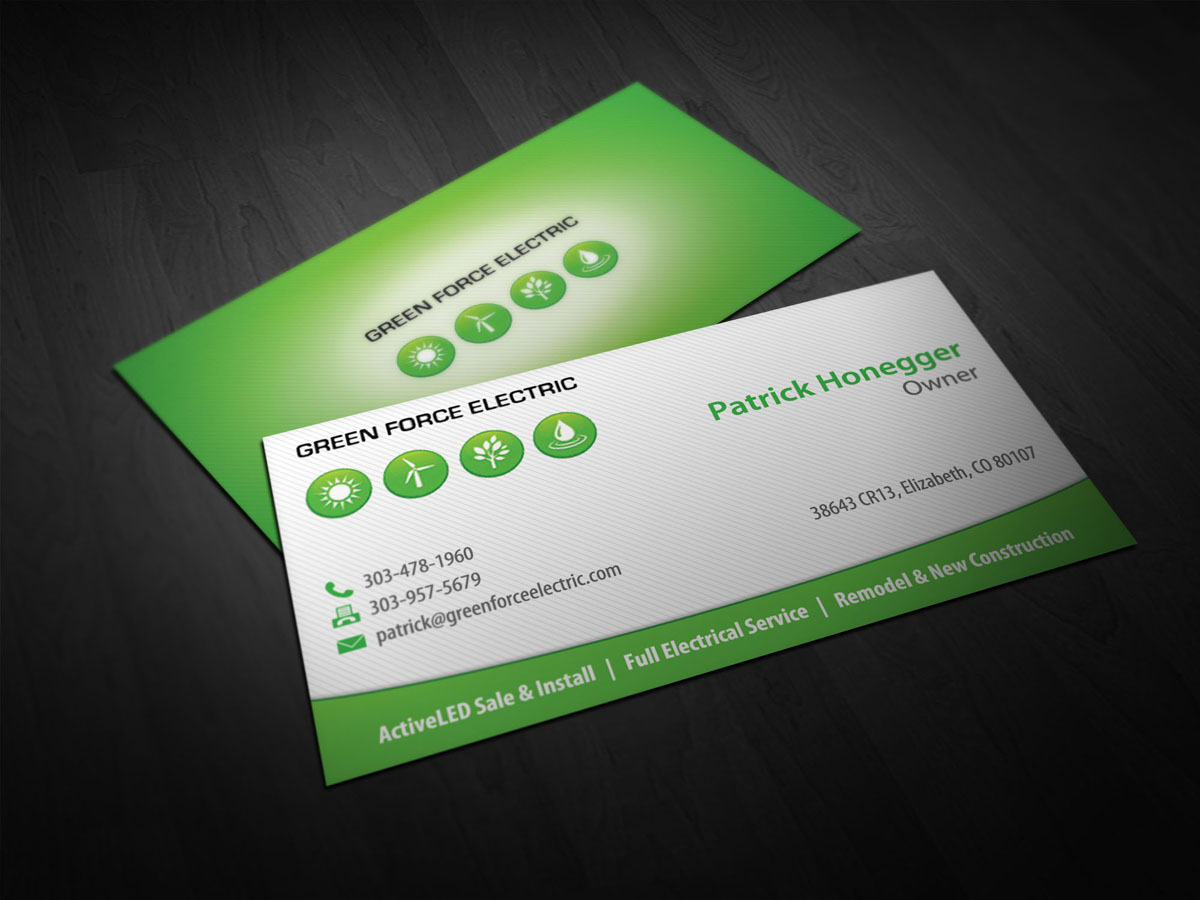 Electrical Business Card Design for Green Force Electric by Totemic ...