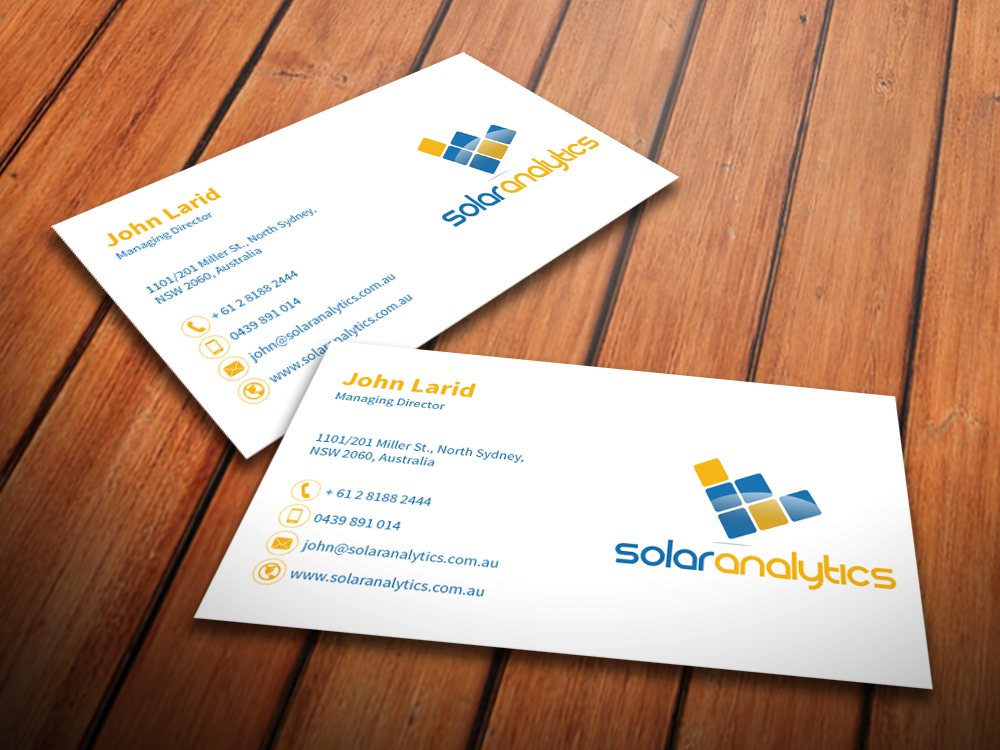 Serious professional business business card design for solar business card design by mediaproductionart for solar analytics design 3140733 reheart Image collections