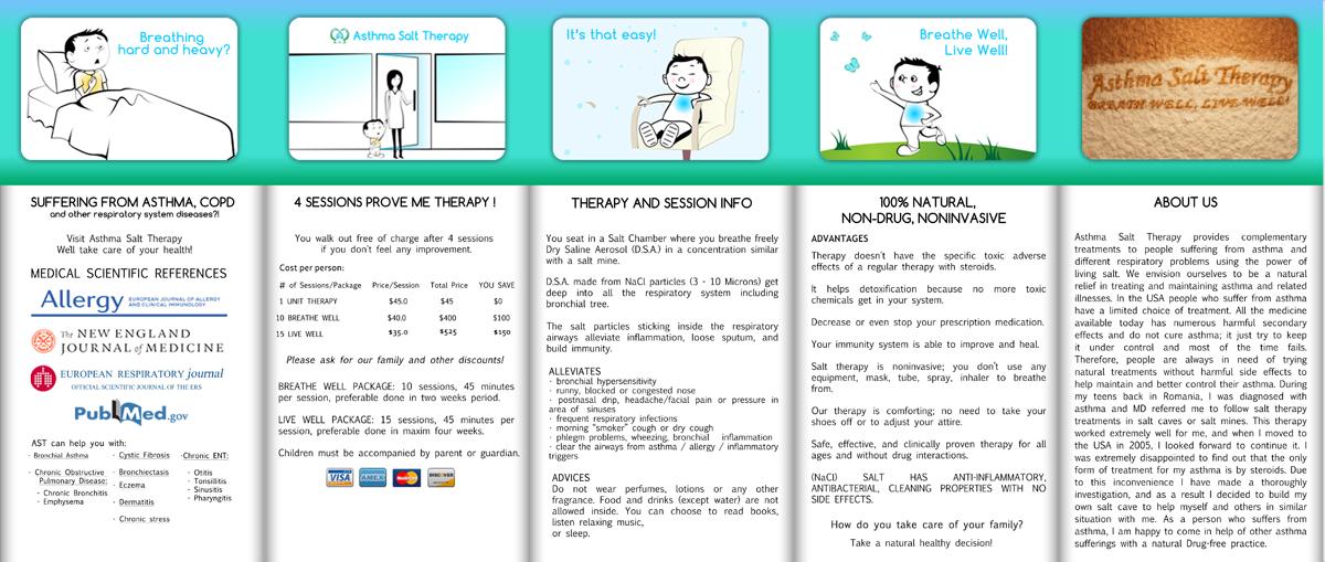 Personable feminine brochure design for asthma salt for Asthma brochure template
