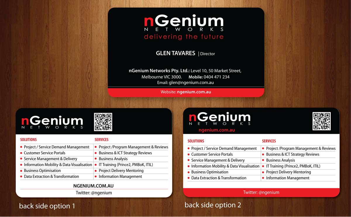 Business Card Design By Sbss For Ngenium Networks Pty Ltd 766386