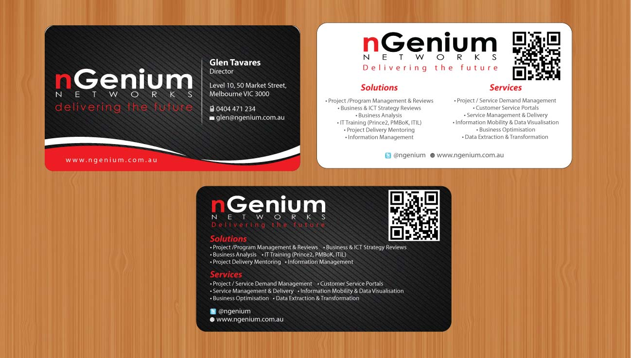 Elegant modern printing business card design for ngenium networks business card design by sbss for ngenium networks pty ltd design 766405 reheart Images