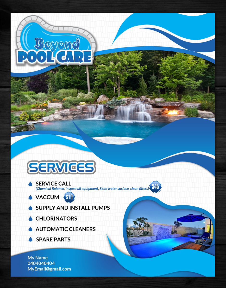 Swimming Pool Designing Services : Flyer design for beyond pool care by esolz technologies