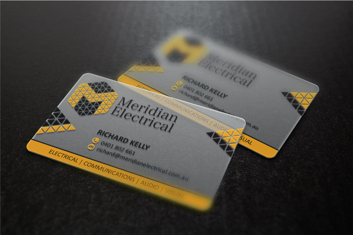 Plastic Business Card Design for Meridian Electrical Pty Ltd by MT ...