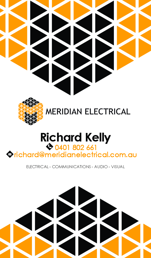 Plastic Business Card Design for Meridian Electrical Pty Ltd by ...