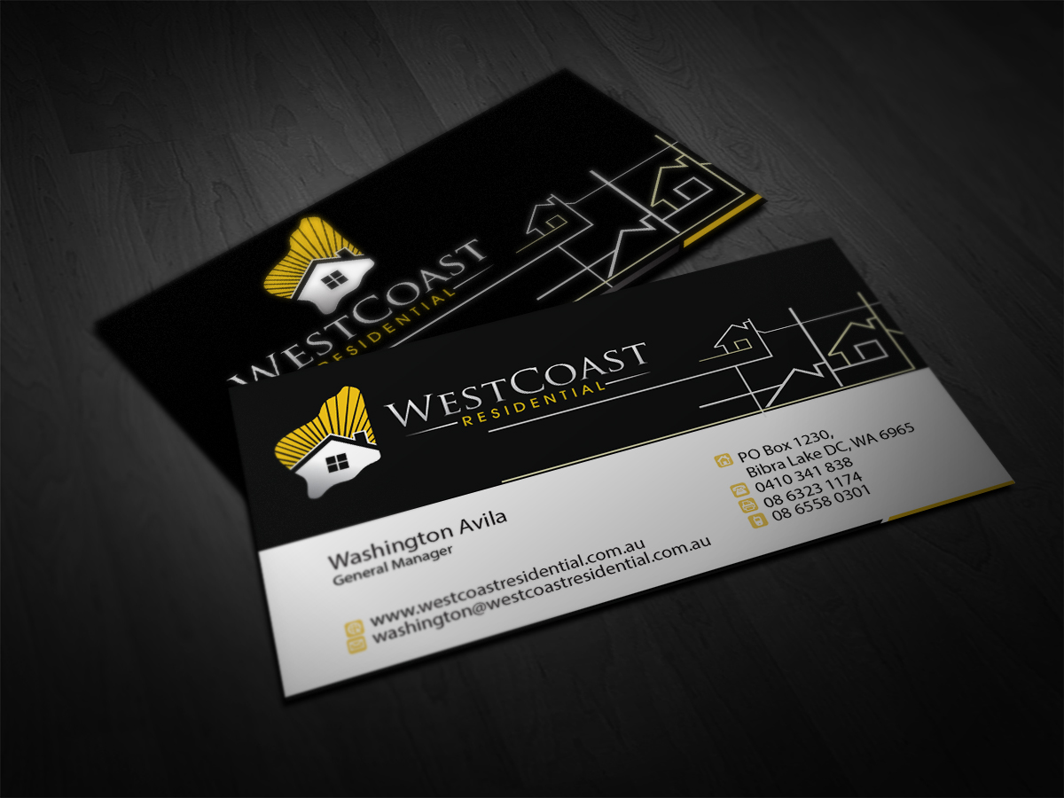Business Card Design By SIMRKS For Residential Home Builder Needs A Fresh  Looking Business Card