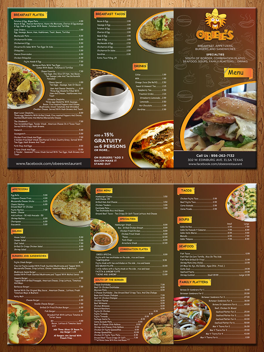 Restaurant menu design for a company by theblueart