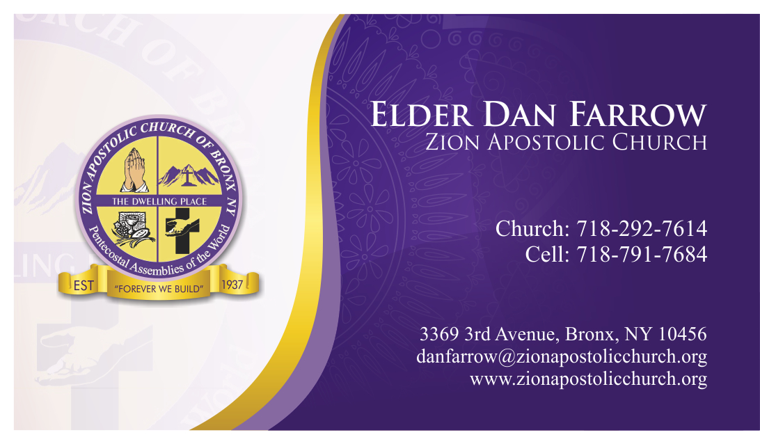 Business Card Design for Zion Apstolic Church, Inc. by ...