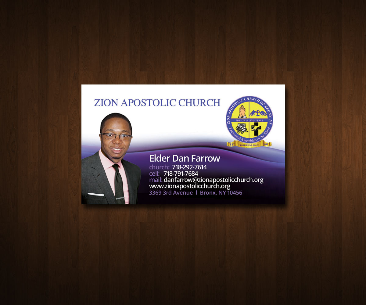 Business Card Design for Zion Apstolic Church, Inc. by ZETA ...