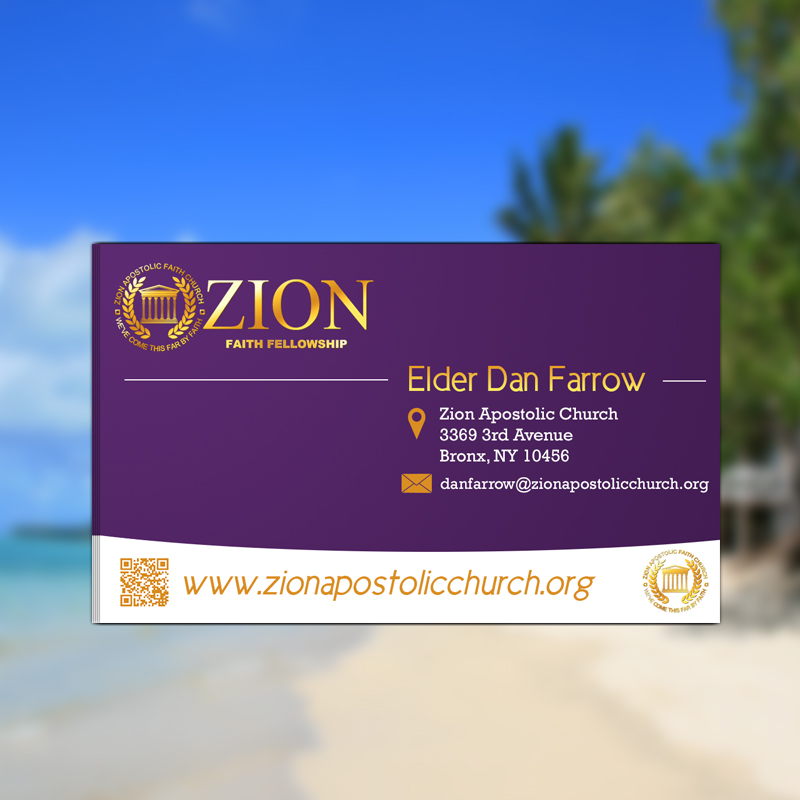 Business Card Design for Zion Apstolic Church, Inc. by Professor P ...
