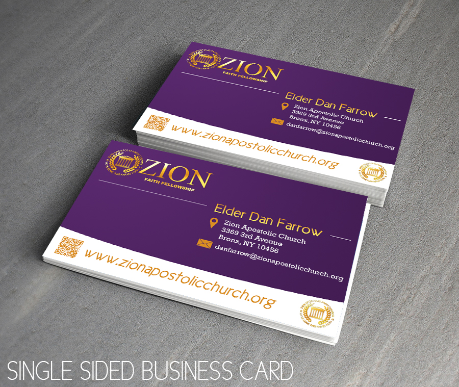 Business card design for zion apstolic church inc by for Church business card designs