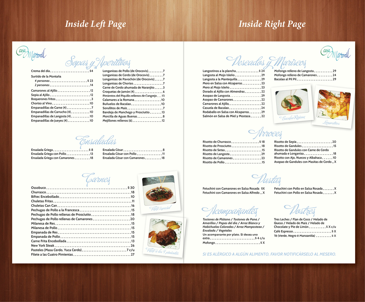 Serious traditional restaurant menu design for a company