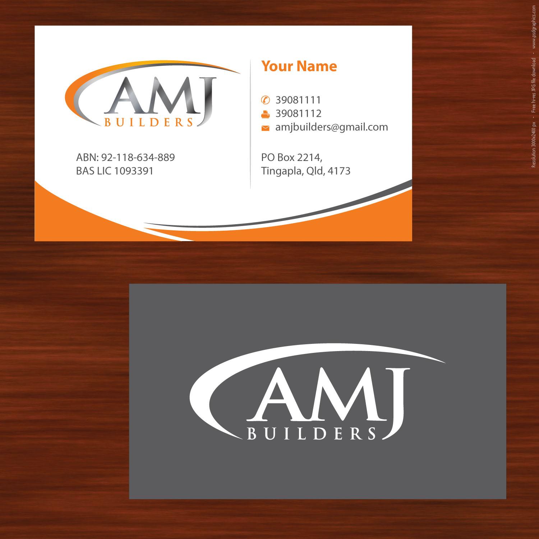 Elegant playful business card design for mick mcmillan by sbss business card design by sbss for amj builders business card design project design 780899 colourmoves