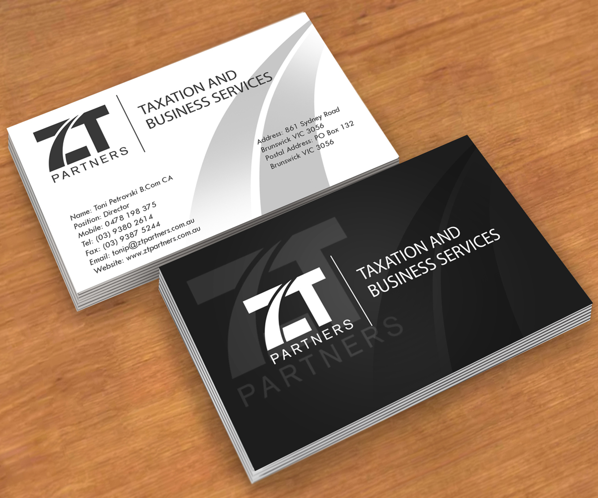 Business card design for toni petrovski by andre design for Firm company