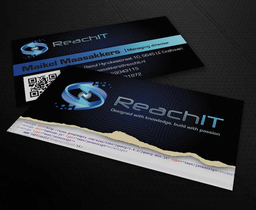 Modern professional business business card design for reachit by business card design by patriotu for reachit design 783516 reheart Gallery