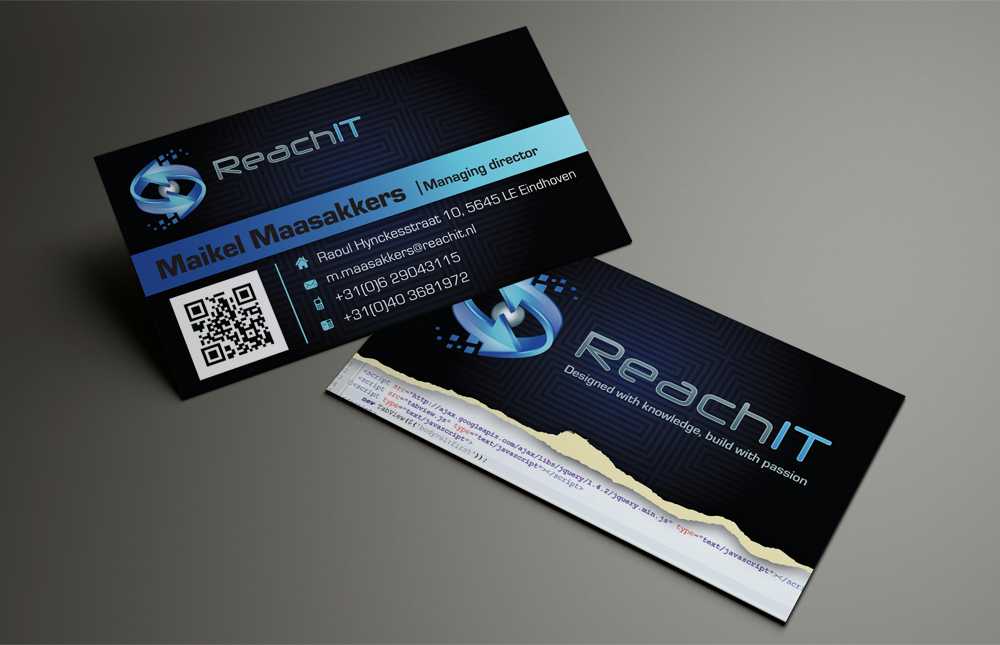 Modern professional business business card design for reachit by business card design by patriotu for reachit design 870348 reheart Gallery