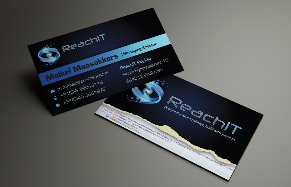 Modern professional business business card design for reachit by business card design by patriotu for reachit design 870349 reheart Images