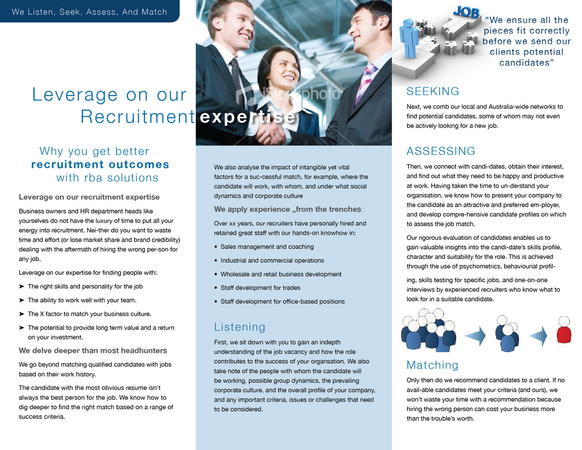 professional upmarket recruitment brochure design for a company by