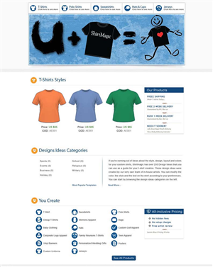 Web Design by Sandy1155 - Custom T Shirt Site Needs New Graphics for Home...