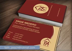 Business Card Design by faith.peach - 3D abstract logo Construction, Kitchen and Bath...