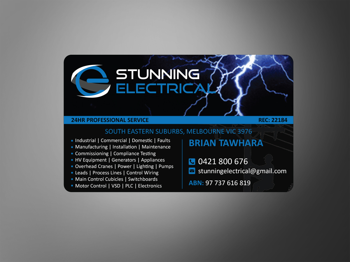 Professional upmarket business card design for stunning for Electrician business card ideas