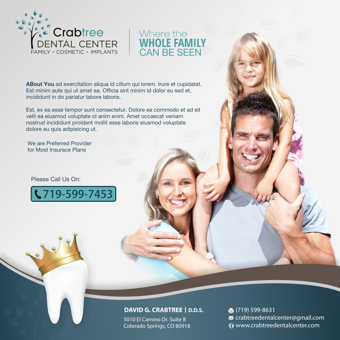 Advertisement Design By Dia Bee For Crabtree Dental Center Specials Offers
