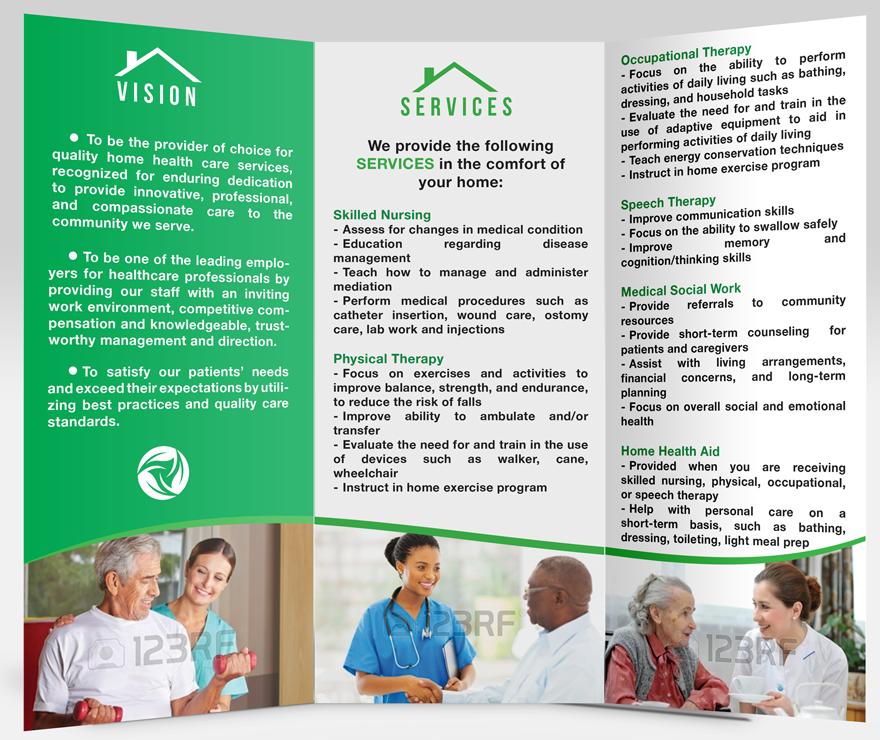 Elegant traditional home health care brochure design for for Home care brochure template