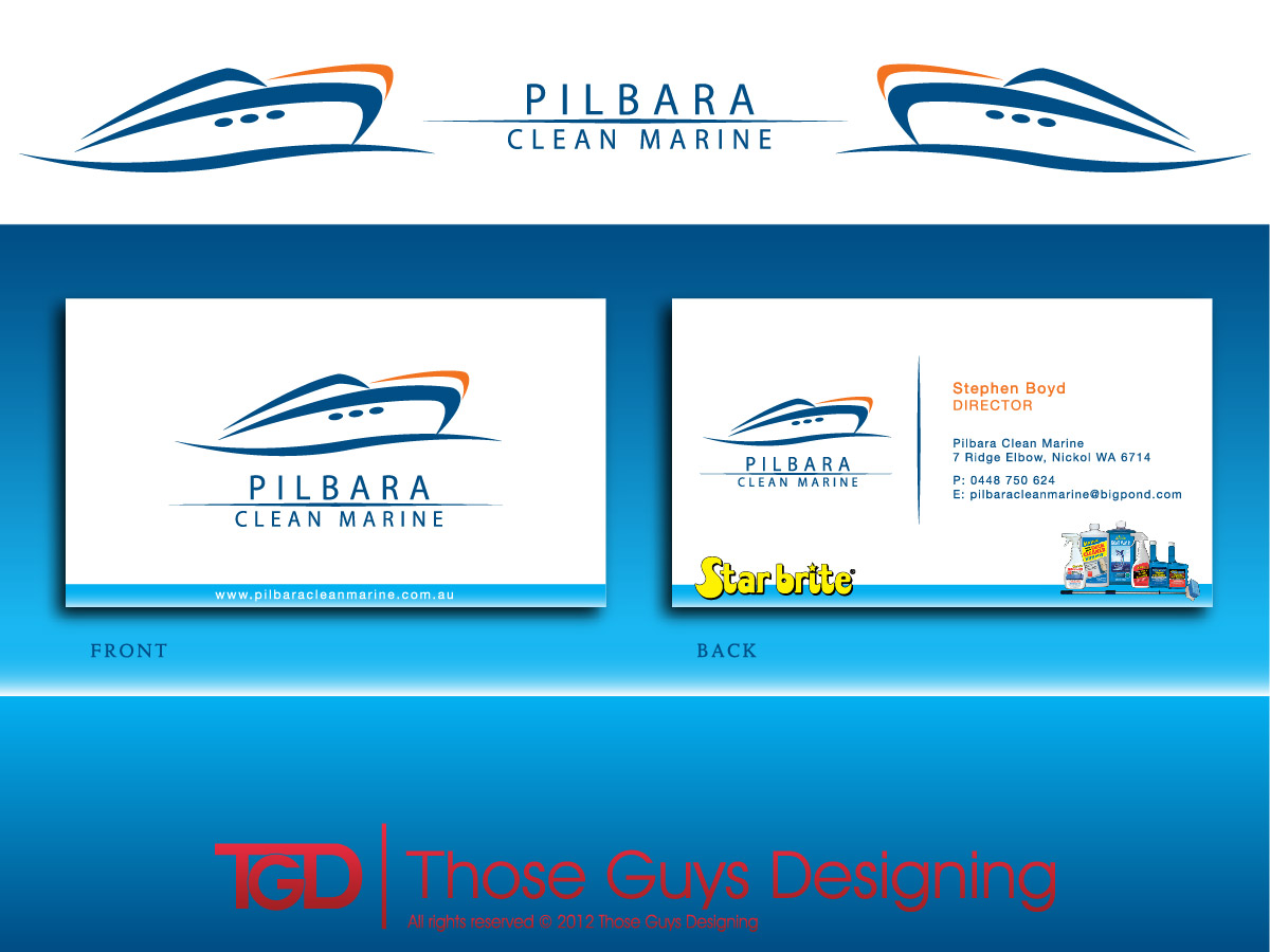 Modern professional business business card design for pilbara business card design by those guys designing for pilbara clean marine design 805014 colourmoves