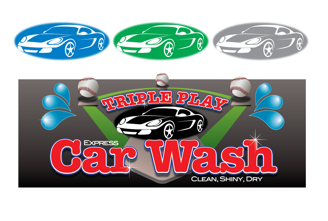 Elegant Playful Logo Design For Triple Play Express Car Wash Clean