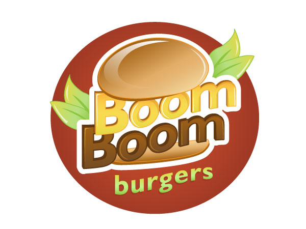 playful personable marketing logo design for boom boom burgers