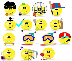 Illustration Design by  grafoskop - Emoticons_Sports×15 and Animals×15