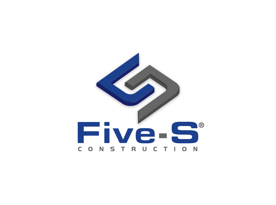 Masculine Bold Concrete Logo Design For Five S Construction By