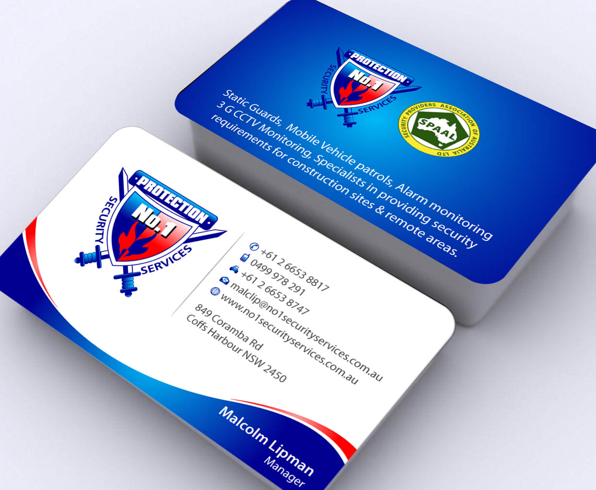 Business Card Design for No. 1 Security Services Pty Ltd by Sbss ...